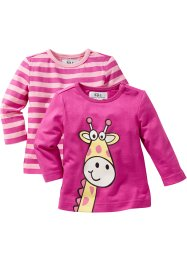 Longsleeve (set van 2), bpc bonprix collection, pink+roze