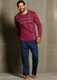 Pyjama, bpc bonprix collection, donkerblauw/bordeaux