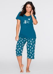 Pyjama, bpc bonprix collection, blauwpetrol/wit