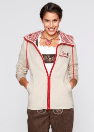Sweatvest, bpc bonprix collection, kiezelbeige/rood