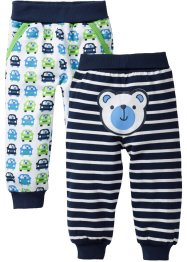Sweatbroek (set van 2), bpc bonprix collection, donkerblauw/wit gestreept