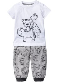 T-shirt+shirtbroek (2-dlg. set), bpc bonprix collection, antraciet gemêleerd/lichtgrijs gemêleerd