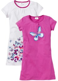Nachthemd (set van 2), bpc bonprix collection, wit/middenfuchsia met print