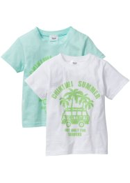 T-shirt (set van 2), bpc bonprix collection, pastelmint+wit