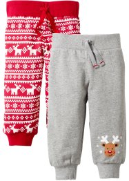 Sweatbroek (set van 2), bpc bonprix collection, lichtgrijs gemêleerd/rood