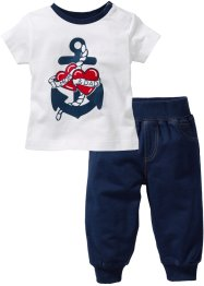 T-shirt+sweatbroek (2-dlg.), bpc bonprix collection, donkerblauw/wit