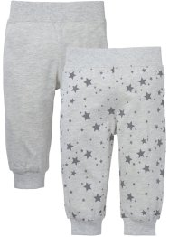 Babybroek (set van 2), bpc bonprix collection, ecru gemêleerd/grijs met print