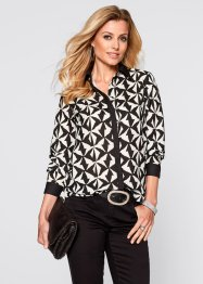 Blouse, bpc selection, cappuccino/zwart gedessineerd
