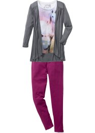 Shirt+vest+legging (3-dlg. set), bpc bonprix collection, wolwit/rookgrijs/violet