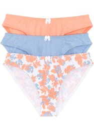 Slip (set van 3), bpc bonprix collection, gedessineerd+blauw+papaja