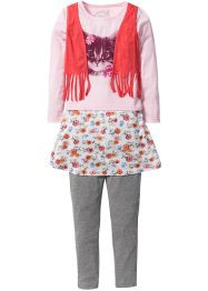 Shirt+rok+legging (3-dlg. set), bpc bonprix collection, roze poudre met print