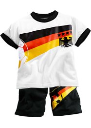 T-shirt+bermuda (2-dlg. set), bpc bonprix collection, wit/Duitsland