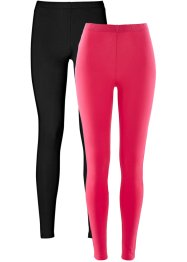 Legging (set van 2), bpc bonprix collection, hibiscuspink+zwart