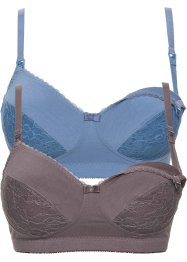 Voedingsbeha (set van 2), bpc bonprix collection, blauw+taupe