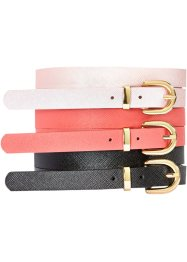Riem (set van 3), bpc bonprix collection, koraal/pink metallic/zwart