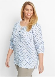 Blouse, bpc bonprix collection, wit/jeansblauw gestreept