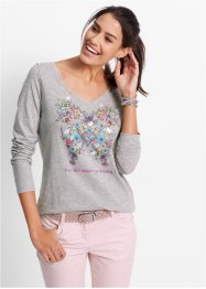 Longsleeve, bpc bonprix collection, parelroze met print