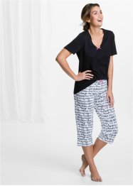 Pyjama (2-dlg.), bpc bonprix collection, zwart/wit met print