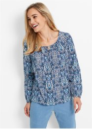 Blouse, bpc bonprix collection, donkerblauw gedessineerd