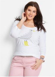 Stretchshirt, bpc bonprix collection, wit met print