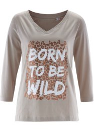 T-shirt, bpc selection, natuursteen/donkerbruin/wit