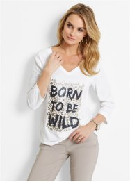 T-shirt, bpc selection, wit/zwart/natuursteen