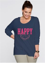 Longsleeve, bpc bonprix collection, donkerblauw met print happy