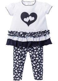 Babyshirt+legging (2-dlg. set), bpc bonprix collection, wit/donkerblauw