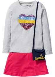 Shirt+rok+tasje (3-dlg. set), bpc bonprix collection, ecru gemêleerd/hibiscuspink