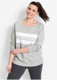 Sweatshirt, bpc bonprix collection, lichtgrijs gemêleerd/wit gedessineerd
