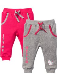 Sweatbroek (set van 2), bpc bonprix collection, lichtgrijs gemêleerd/hibiscuspink
