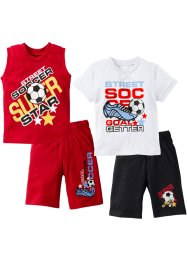 T-shirt+singlet+bermuda (4-dlg.), bpc bonprix collection, rood/wit/zwart
