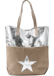 Shopper, bpc bonprix collection, ecru/zilverkleur