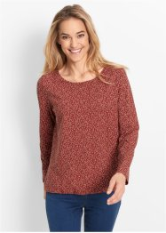 Shirt, bpc bonprix collection, marsala/wolwit gedessineerd
