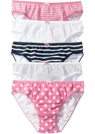 Slip (set van 5), bpc bonprix collection, wit+roze+donkerblauw