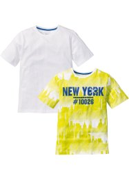 T-shirt (set van 2), bpc bonprix collection, limoengroen gedessineerd+effen wit