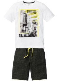 Shirt+sweatbermuda (2-dlg. set), bpc bonprix collection, wit/zwart met print