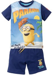 T-shirt+bermuda «Minions» (2-dlg. set), Despicable Me, middernachtblauw met print «Minions»