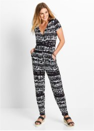 Jumpsuit, bpc bonprix collection, wit/zwart gedessineerd