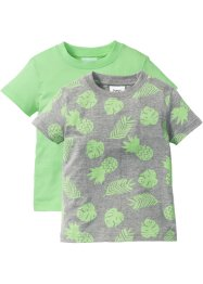 T-shirt (set van 2), bpc bonprix collection, lichtgrijs gemêleerd gedessineerd+mint