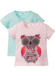 T-shirt (set van 2), bpc bonprix collection, zacht roze uil+pastelmint