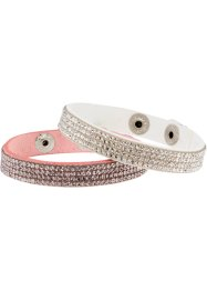 Armband (2-dlg. set), bpc bonprix collection, wit/pastelroze