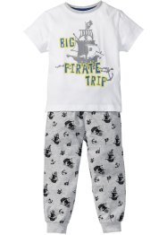 Pyjama (2-dlg. set), bpc bonprix collection, wit/lichtgrijs gemêleerd