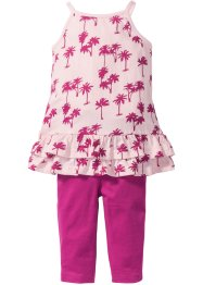 Jurk+legging (2-dlg. set), bpc bonprix collection, lichtroze/middenfuchsia gedessineerd