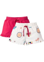 Short (set van 2), bpc bonprix collection, wolwit patches+hibiscuspink