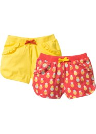 Short (set van 2), bpc bonprix collection, kreeftrood gedessineerd+ananasgeel