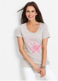 Shirt, bpc bonprix collection, lichtgrijs gemêleerd met print