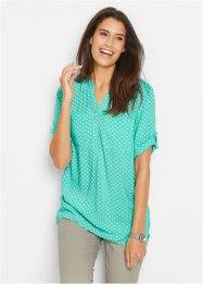 Tuniekblouse, bpc bonprix collection, mentholblauw/wit gestippeld