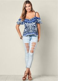 Top, BODYFLIRT boutique, blauw/wit
