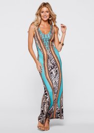 Maxi-jurk, BODYFLIRT boutique, turkoois gedessineerd